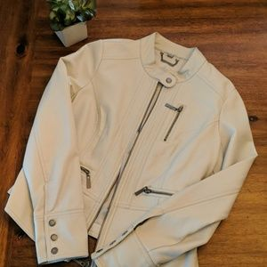 Jou Jou Ivory Faux Leather Jacket